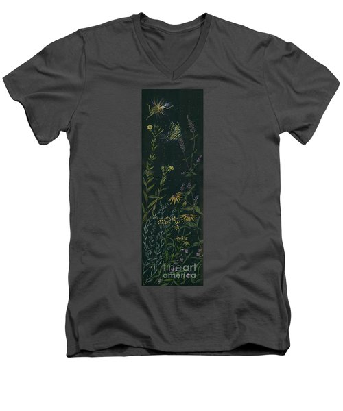 Men's V-Neck T-Shirt featuring the drawing Ditchweed Fairy Tiger Swallowtail by Dawn Fairies