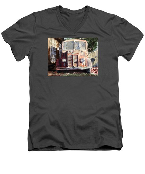 Divco Truck Men's V-Neck T-Shirt by Joey Agbayani