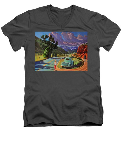 Men's V-Neck T-Shirt featuring the painting Divergent Paths by Art West