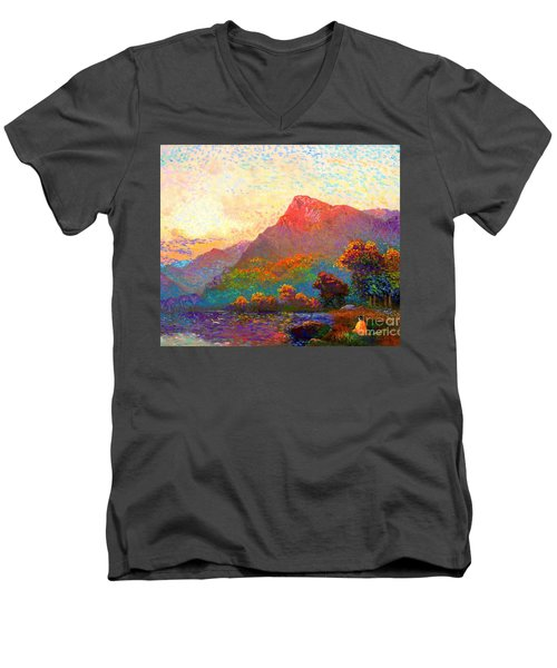 Men's V-Neck T-Shirt featuring the painting  Buddha Meditation, Divine Light by Jane Small
