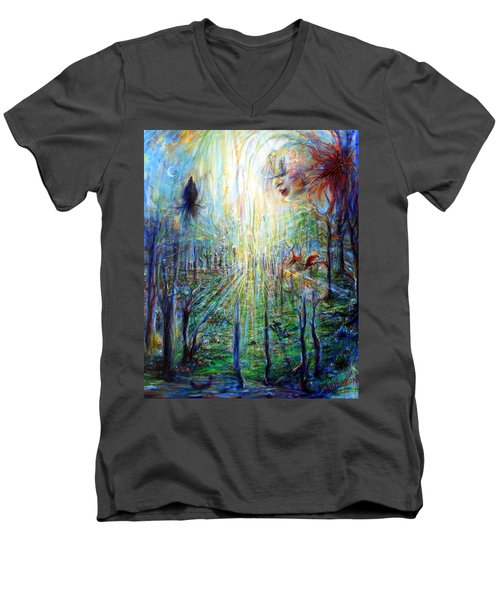 Men's V-Neck T-Shirt featuring the painting Divine Mother Earth by Heather Calderon