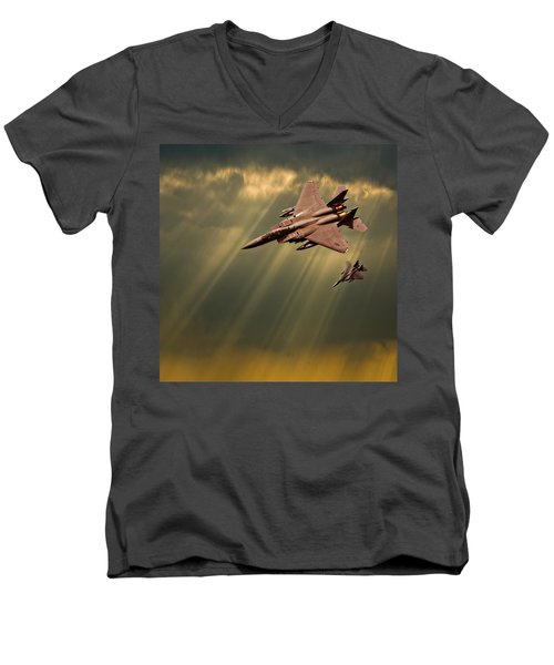 Diving Eagles Men's V-Neck T-Shirt by Meirion Matthias