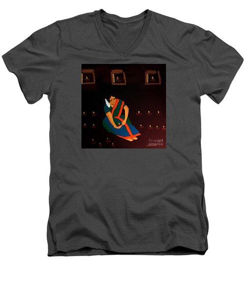 Men's V-Neck T-Shirt featuring the digital art Diwali-the Night Of Diyas by Latha Gokuldas Panicker