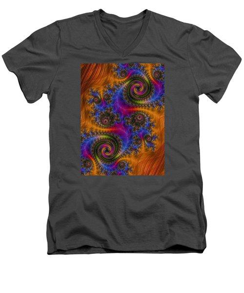 Men's V-Neck T-Shirt featuring the photograph Dizzy Spirals by Ronda Broatch