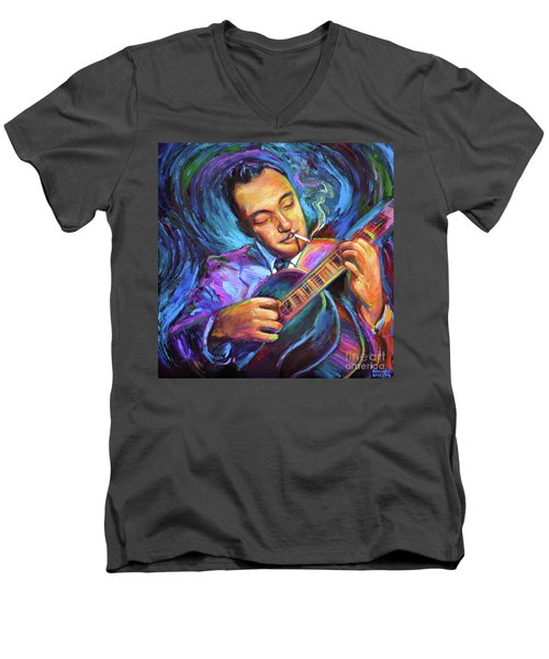 Men's V-Neck T-Shirt featuring the painting Django Reinhardt  by Robert Phelps