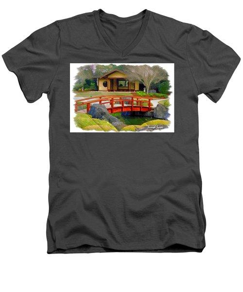 Do-00006 Cypress Bridge And Tea House Men's V-Neck T-Shirt