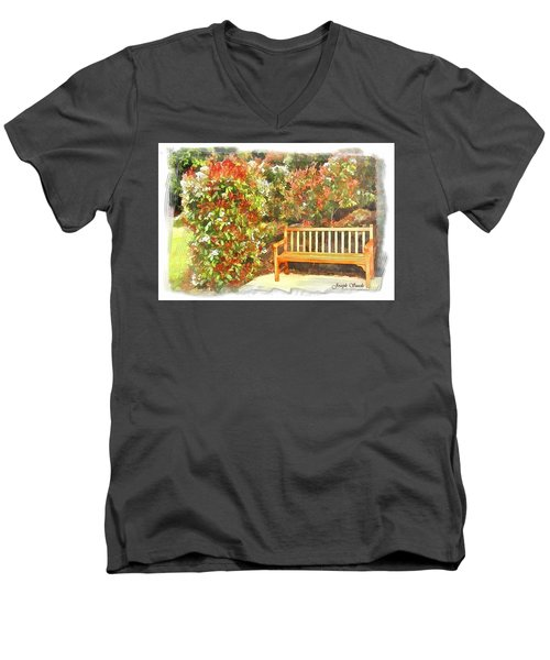 Men's V-Neck T-Shirt featuring the photograph Do-00122 Inviting Bench by Digital Oil