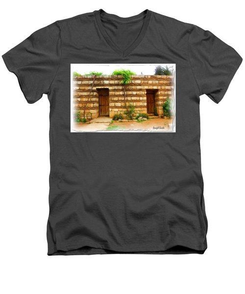 Men's V-Neck T-Shirt featuring the photograph Do-00305 Old Hutt In Anjar by Digital Oil