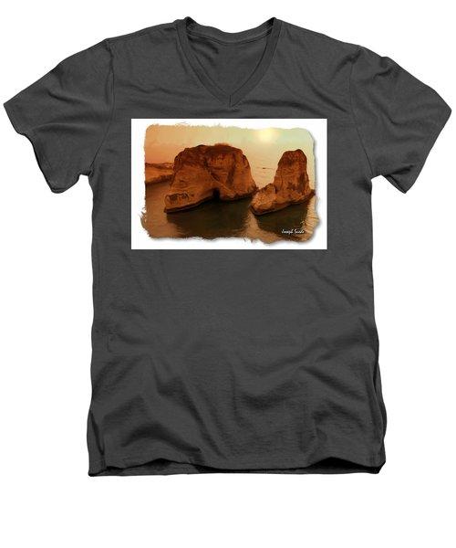 Do-00405 Raouche Sunset Beirut  Men's V-Neck T-Shirt