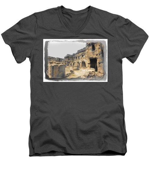 Men's V-Neck T-Shirt featuring the photograph Do-00452 Inside The Ruins by Digital Oil