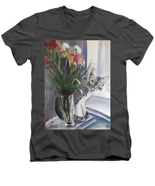 Do You See Me? Pet Portrait In Watercolor .modern Cat Art With Flowers  Men's V-Neck T-Shirt