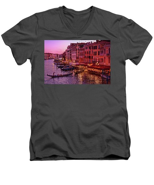 A Cityscape With Vintage Buildings And Gondola - From The Rialto In Venice, Italy Men's V-Neck T-Shirt