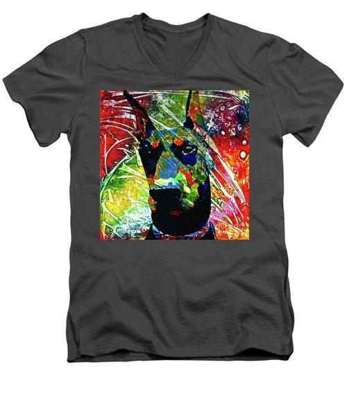 Doberman Custom Portrait Men's V-Neck T-Shirt