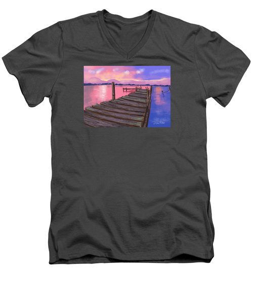 Men's V-Neck T-Shirt featuring the digital art Dock At Sunset by Diana Riukas