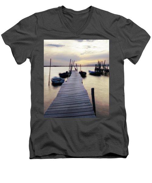 Dock At Sunset Men's V-Neck T-Shirt by Marion McCristall
