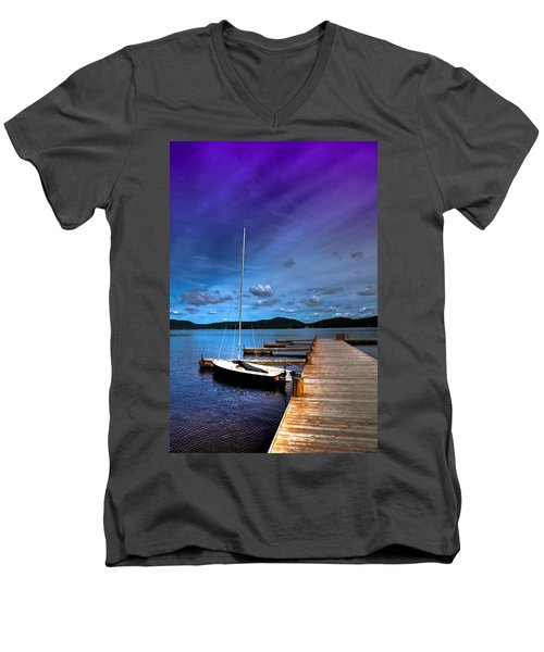 Docked On Fourth Lake Men's V-Neck T-Shirt by David Patterson