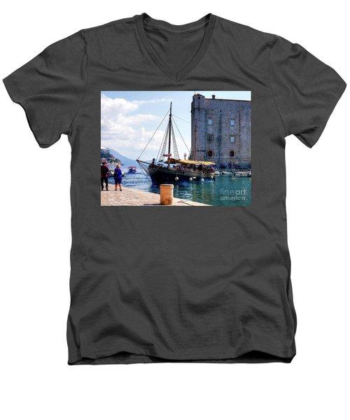 Docking In Dubrovnik Harbour Men's V-Neck T-Shirt