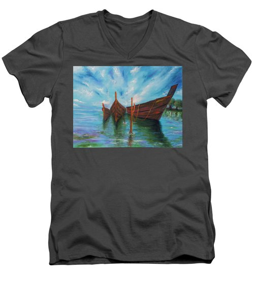 Men's V-Neck T-Shirt featuring the painting Docking by Itzhak Richter