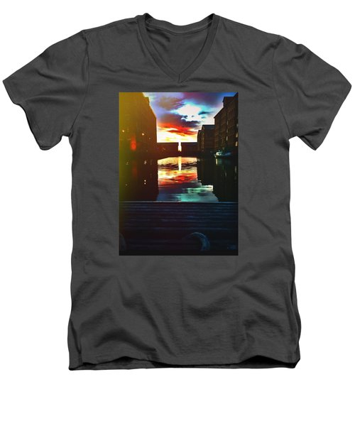 Dockland Sun Down Men's V-Neck T-Shirt by Trystan Oldfield