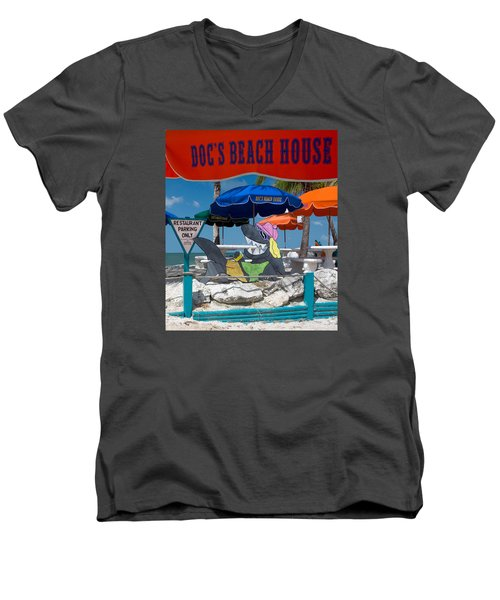 Doc's Beach House On Bonita Beach Men's V-Neck T-Shirt