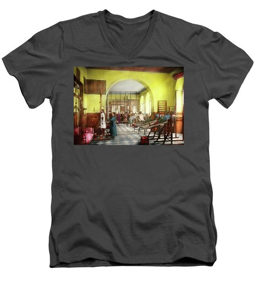 Men's V-Neck T-Shirt featuring the photograph Doctor - Physical Therapist - Welcome To The A Traction 1918 by Mike Savad