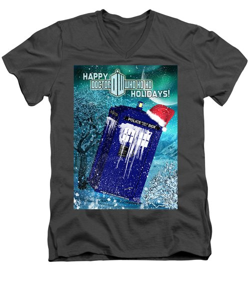 Doctor Who Tardis Holiday Card Men's V-Neck T-Shirt