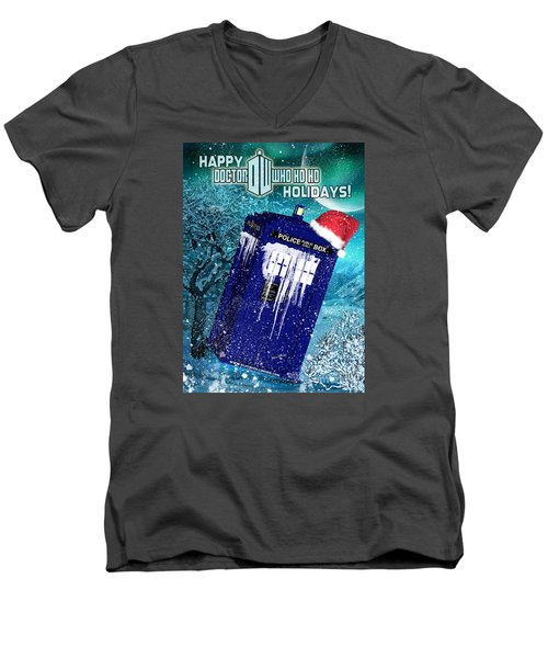 Doctor Who Tardis Holiday Card Men's V-Neck T-Shirt