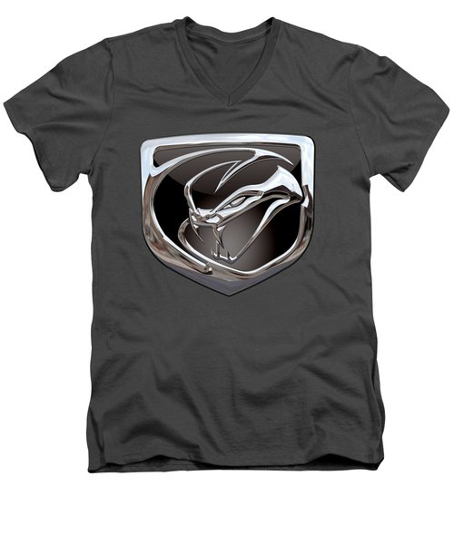 Dodge Viper - 3d Badge On Red Men's V-Neck T-Shirt