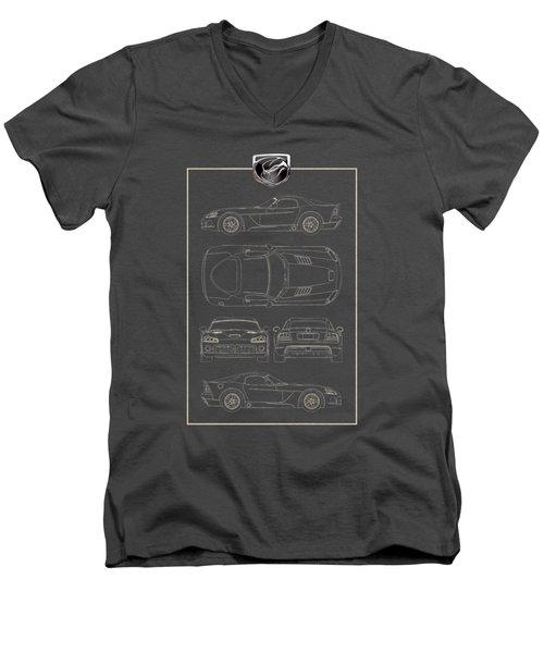 Dodge Viper  S R T 10  Blueprint With Dodge Viper  3 D  Badge Over Men's V-Neck T-Shirt by Serge Averbukh