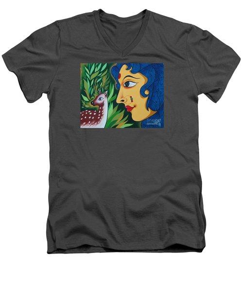 Doe-eyed Men's V-Neck T-Shirt by Ragunath Venkatraman