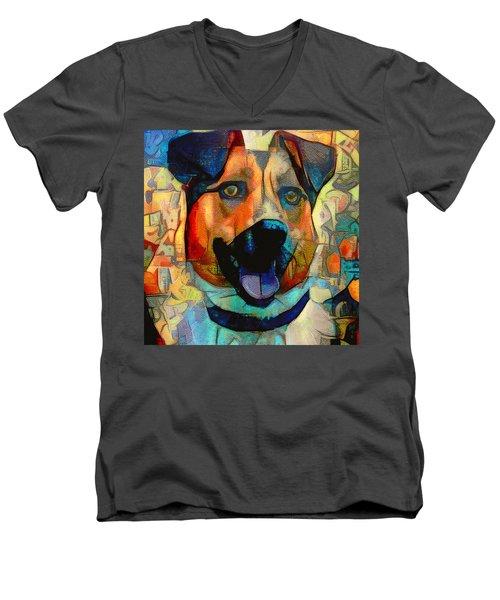 Dog And Cubes Men's V-Neck T-Shirt