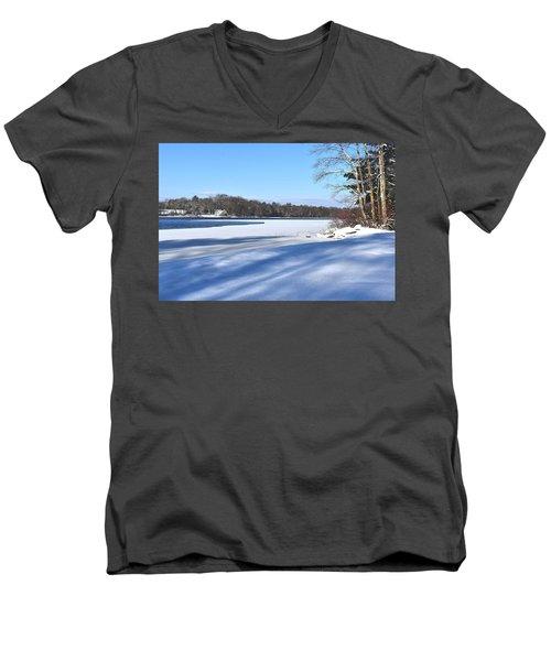 Dog Pond In Winter 1 Men's V-Neck T-Shirt
