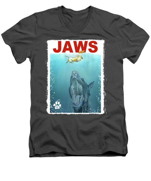 Dog-themed Jaws Caricature Art Print Men's V-Neck T-Shirt