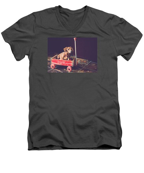 Men's V-Neck T-Shirt featuring the photograph Doggy In A Wagon by Teresa Blanton
