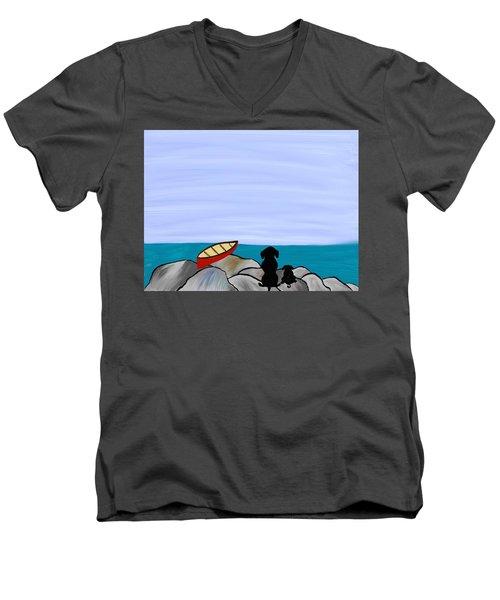 Dogs At Beach Men's V-Neck T-Shirt