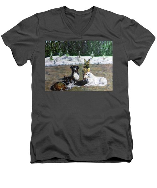 Dogs Having A Meeting Men's V-Neck T-Shirt