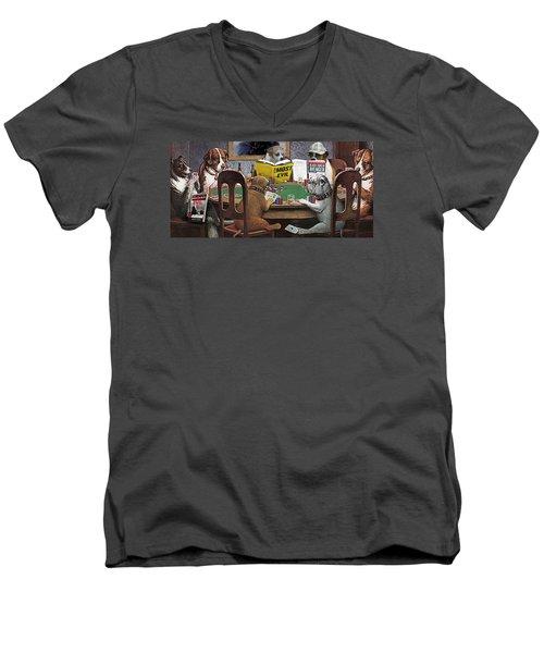Dogs Playing Poker And Reading Steve Hodel Men's V-Neck T-Shirt by Robert J Sadler
