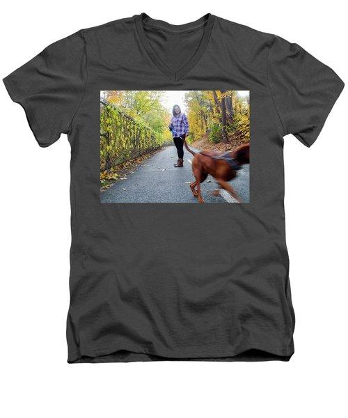 Dogwalking Men's V-Neck T-Shirt