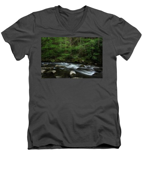 Men's V-Neck T-Shirt featuring the photograph Dogwood Along The River by Mike Eingle
