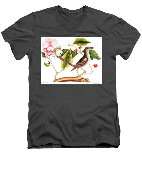Dogwood  Cornus Florida, And Mocking Bird  Men's V-Neck T-Shirt by Mark Catesby