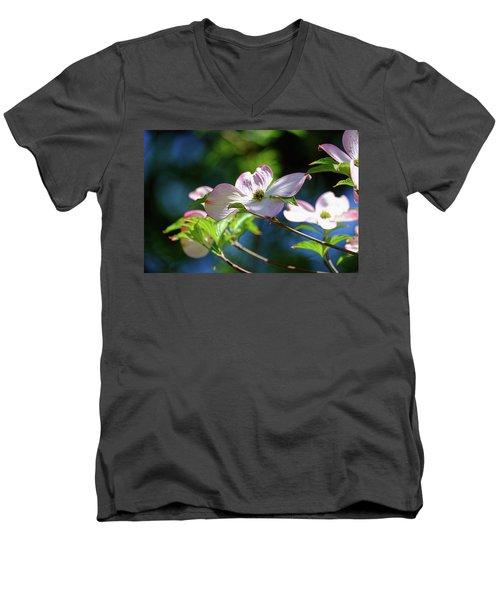 Dogwood Flowers Men's V-Neck T-Shirt by Ronda Ryan