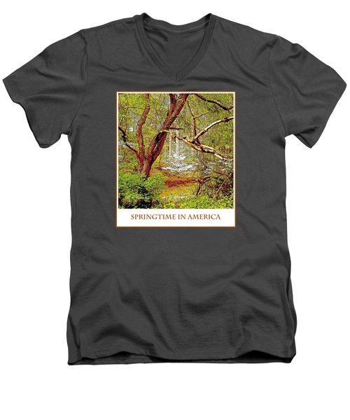 Men's V-Neck T-Shirt featuring the photograph Dogwood Tree In Spring by A Gurmankin