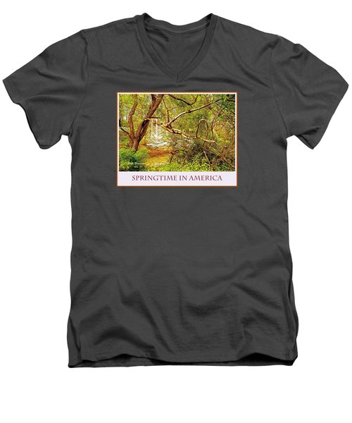 Men's V-Neck T-Shirt featuring the photograph Dogwood Tree In The Forest Spring by A Gurmankin