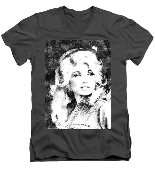 Dolly Parton Bw Portrait Men's V-Neck T-Shirt by Mihaela Pater