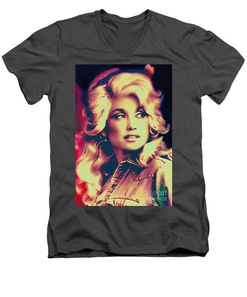 Dolly Parton - Vintage Painting Men's V-Neck T-Shirt by Ian Gledhill