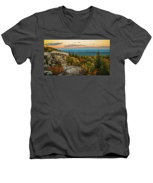 Dolly Sods Autumn Sundown Men's V-Neck T-Shirt
