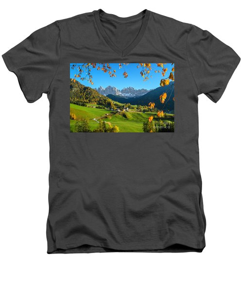 Dolomites Mountain Village In Autumn In Italy Men's V-Neck T-Shirt