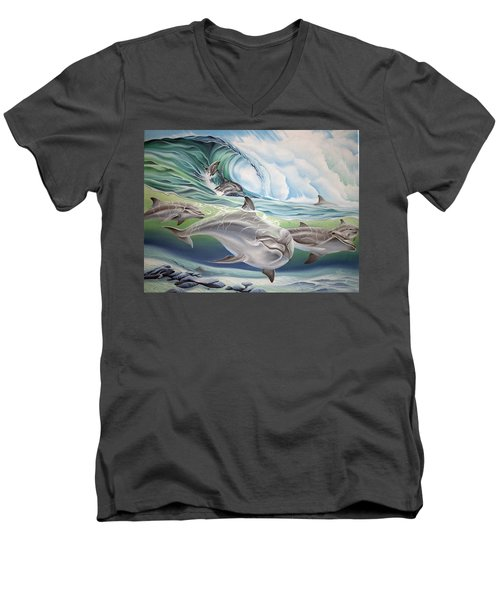 Dolphin 2 Men's V-Neck T-Shirt by William Love