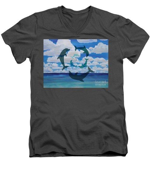 Dolphin Cloud Dance Men's V-Neck T-Shirt