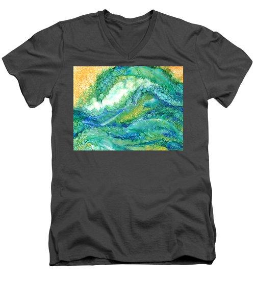 Men's V-Neck T-Shirt featuring the mixed media Dolphin Waves 2 by Carol Cavalaris